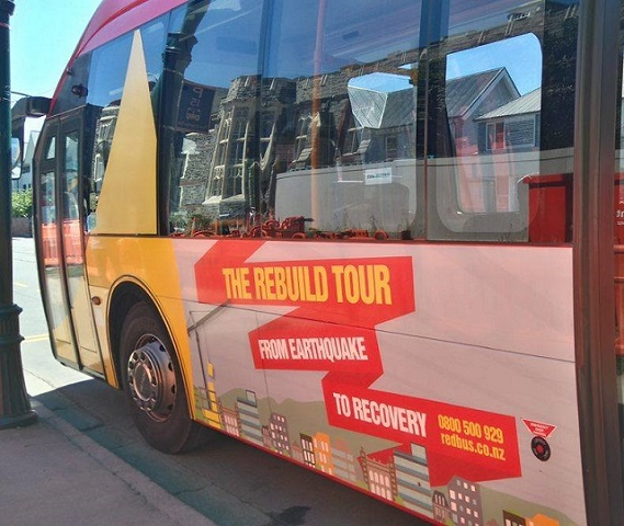 The Christchurch Rebuild Tour shuttle bus